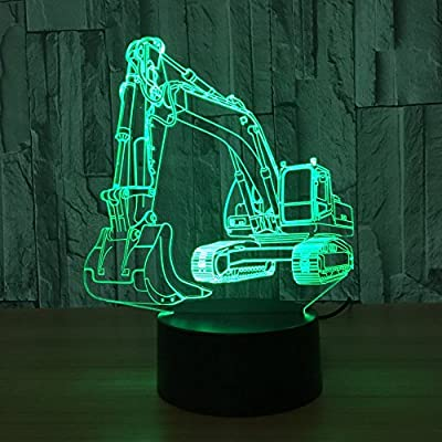 HPBN8 Ltd 3D Excavator Night Light USB Touch Switch Decor Table Desk Optical Illusion Lamps 7 Color Changing Lights LED Table Lamp Xmas Home Love Brithday Children Kids Decor Toy Gift: Home & Kitchen