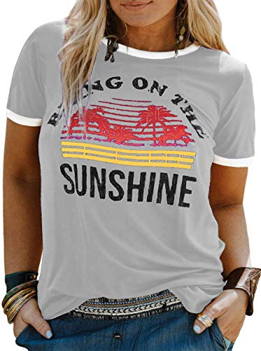 YASAKO Plus Size Women Tops Short Sleeve T Shirts Bring On The Sunshine Casual Tee Shirts Cute Graphic Tunic, Grey, 4X-Large