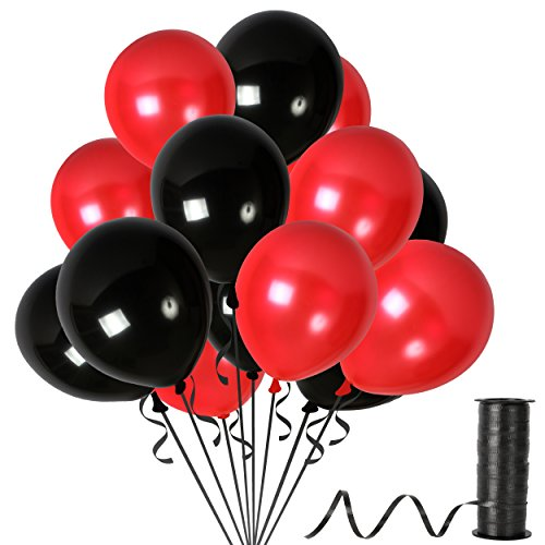 Red and Black Latex Balloons Bulk Decorations for Valentines Graduation Birthday Wedding Bridal Shower Anniversary Party (100 Pack) -