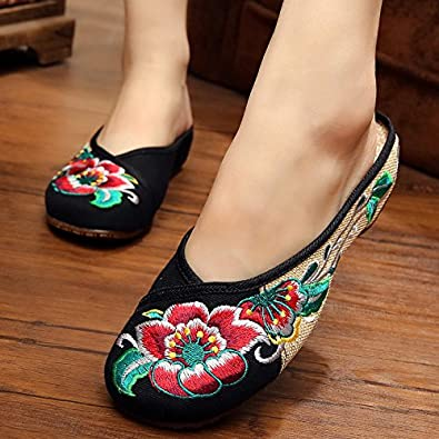 KAFEI Frauen Bestickte Schuhe Hausschuhe Rindfleisch Sehne am Ende des Alten Tuch Baotou Home mit Niedrigen, 40, Rot