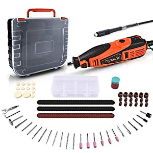 Rotary Tool, GOXAWEE 180W Multi-Functional Tool Kit with 181 Accessories (Flex Shaft & Cover Shield) 5 Variable Speed…