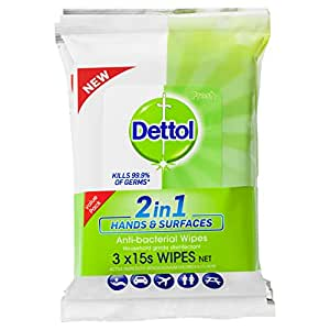 Dettol 2 in 1 Hands & Surfaces Anti-Bacterial Wipes 3 x 15 Pack