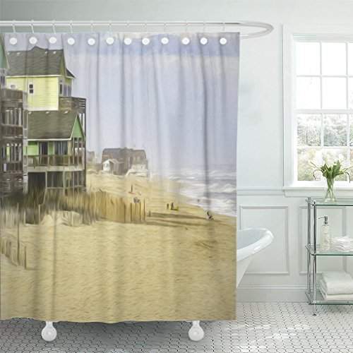 Emvency Shower Curtain Polyester Print 66X72 Inches Oceanside Beach At Rodanthe On Hatteras Island In The Outer Banks Of North Waterproof Adjustable Hook Bathroom