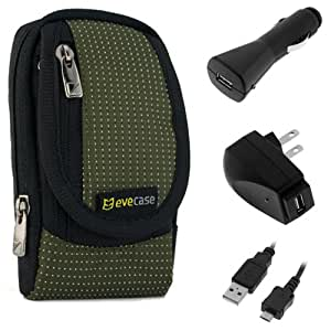 EveCase Travel Kit: Compact Zipper Case, Micro-USB Extension Cable (6 Feet), Car Charger, and Wall Travel/Home Charger for Kodak PlaySport (Zx5) HD Waterproof Pocket Video Camera, BURTON Edition Zx5 Video Camera