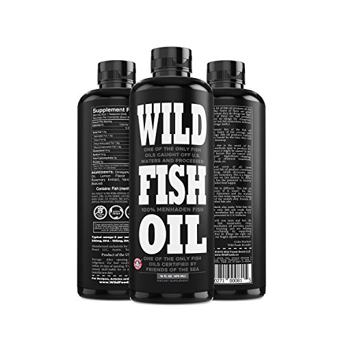 Wild Fish Oil, Omega-3 DPA, DHA, EPA FOS Certified, Super Strength 1,120mg Pure Omega-3, Batch Tested, Natural Lemon, BPA-Free, 94 Servings, U.S. Caught (Two 16oz Bottles)