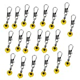 20pcs Space Beans FishingLine to Hook Swivels Shank Clip Connector Yellow M