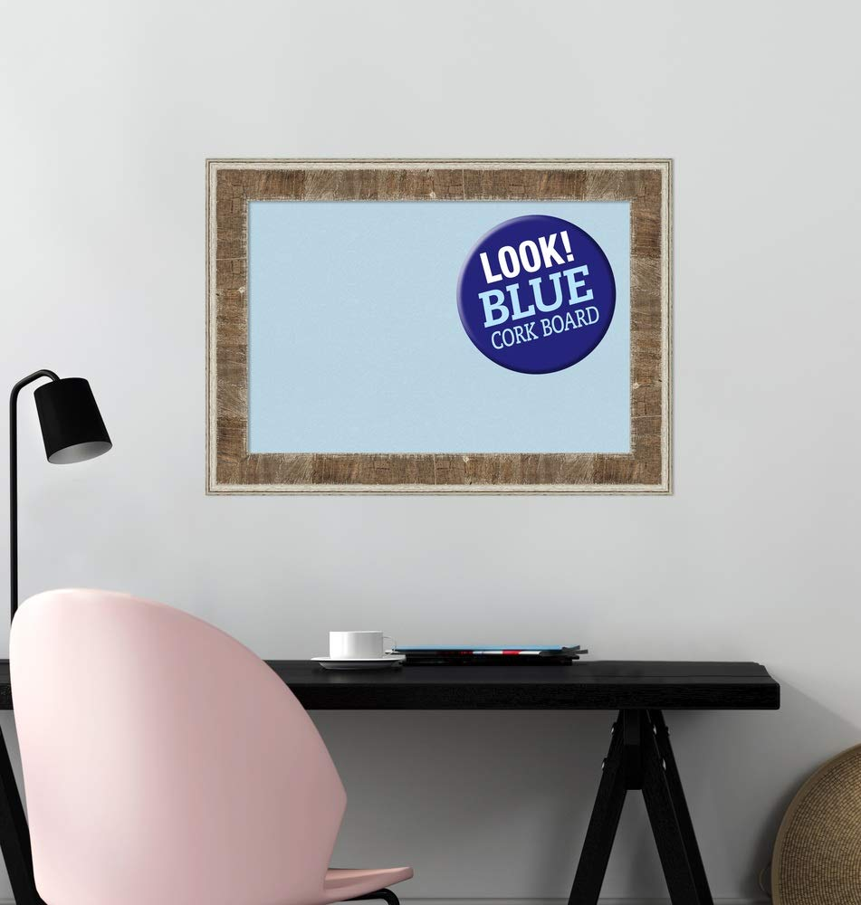 Amanti Art Framed Blue Cork Board Bulletin Board | Blue Cork Boards Farmhouse Brown Narrow Frame | Framed Bulletin Boards | 28.75 x 20.75 by Amanti Art (Image #5)
