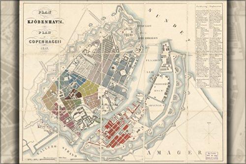 Poster Map Of Copenhagen Denmark 1853 In Danish Antique Reprint
