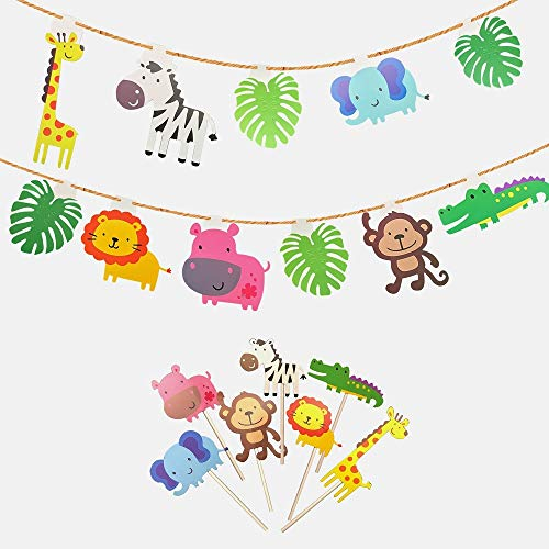(kapoklife Animal Party Banner with 28-Pack Cute Zoo Animal Cupcake Toppers Picks,Jungle Animals Cake Toppers for Kids Baby Shower Birthday Party Cake Decoration Supplies)