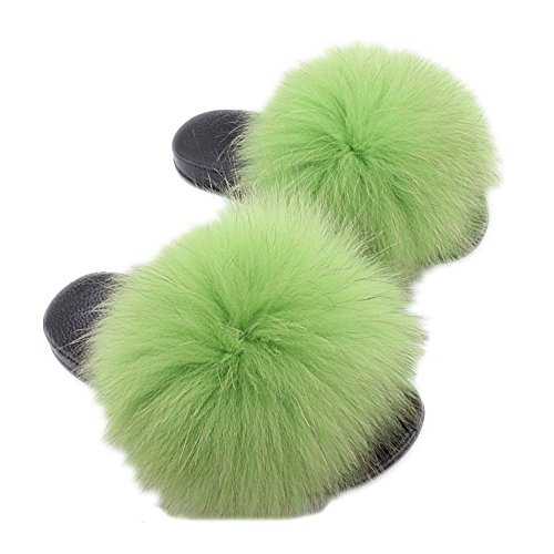 Women's Fur light qmfur Real Raccon Toe Green Black Slippers Slide Open 4zdqX