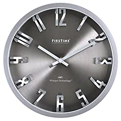 FirsTime 99530 Steel Dimension Wall Clock, Silver