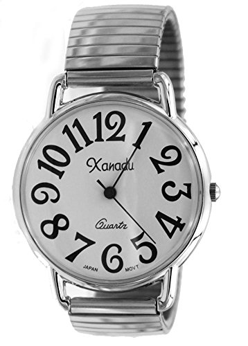 Unisex Silver Tone Stretch Band Easy to Read Watch -Medium Size Face