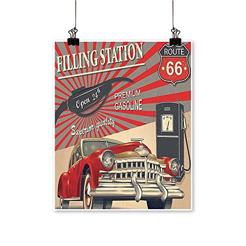 - Canvas paintingPoster Style Gasoline Station Commercial with Kitschy Elements Route 66 Theme Graphic Verm Artwork for Living Room Decorations,24