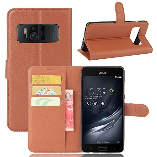 LuckQR Flip Phone Cover ASUS ZenFone AR ZS571KL Luxury PU Leather Wallet  Case, Folding Kickstand, Credit Card & Cash Slot, Magnetic Clasp Closure