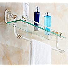 ASIBG Home White Golden Towel Racks Glass Shelves Storage Towel Bar Punching Installation