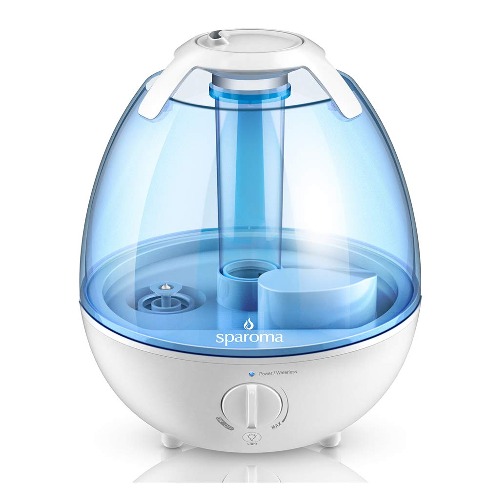 Cool Mist Humidifier - 1 Gallon Ultrasonic Air Humidifier, Quiet Humidifier with Adjustable Mist Levels, 6 Color Optional Night Light Perfect for Baby and Kids, Ideal for 350-450sqf Room and Office