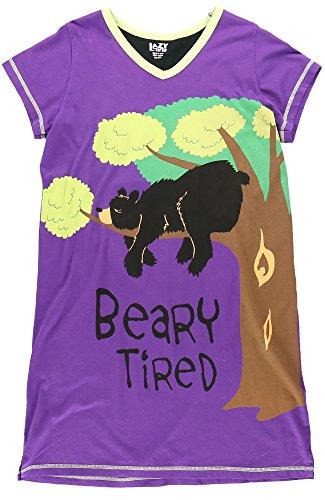 LazyOne Donna Beary Tired Camicia da Notte Collo V