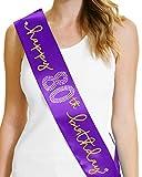 Happy 80th Birthday Gold Foil Sash 80th Birthday Party Decorations Purple