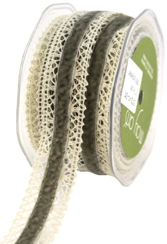 May Arts Crochet Edge Velvet Center Ribbon 1