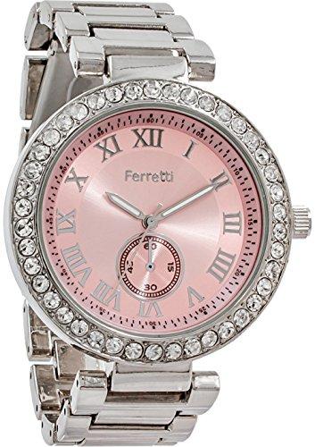 Ferretti Women's | Glamourous Silver-Tone Diamond-Studded Bezel Bracelet Watch | FT12603 (Studded Bezel)