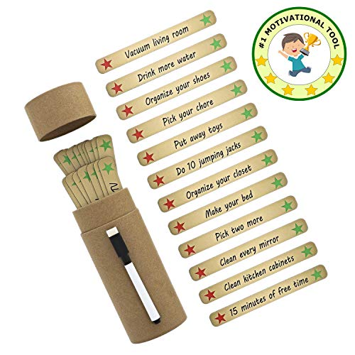 Magnetic Chore Toys for Kids / Toddlers Behavior - Rewards Responsibility - 36 Sticks (Including 6 Blank Dry Erase Sticks) and 1 Marker - Simpler Than Reward Chart - Makes Great Craft!