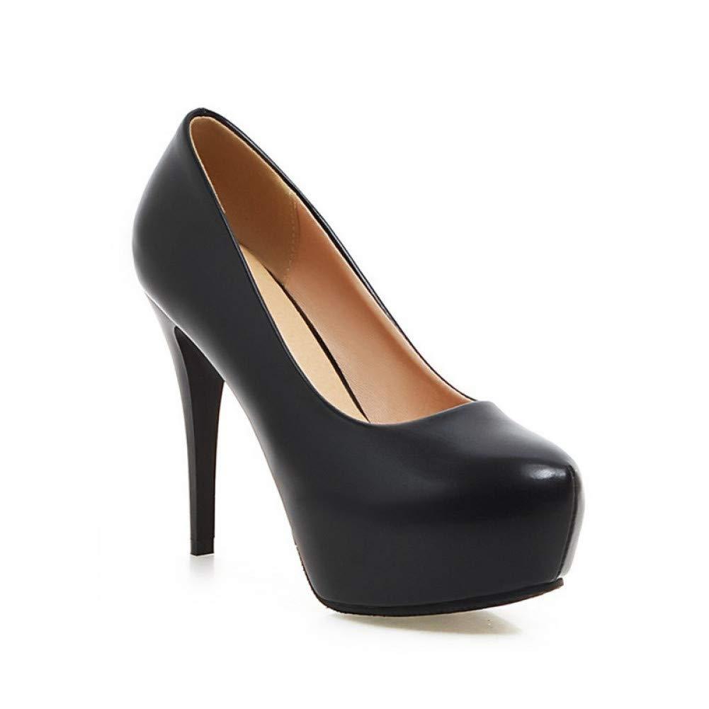 Ai Ya-liangxie Frühling Herbst Prägnant Solid Pumps Übergrößen 33-45 Plattform Flachen High Heels Schuhe Frau Frauen Damenschuh