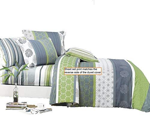 Serene 100% Cotton Sheet Set : Fitted Sheet, Flat Sheet and Two Matching Pillow Shams (Queen)