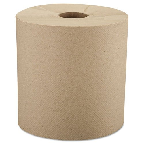 Windsoft Nonperforated Roll Towels, 8 inch x 800ft, Brown, 6 ()