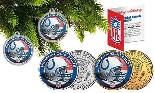 Licensed Indianapolis Colts NFL Christmas Tree Ornament Colorized 24KT Gold JFK Half Dollar 2 Coin Set! W/H COA!