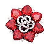 Maikun Rhinestone Artificial-Crystal Lovely Flower Brooch Scarf Pins