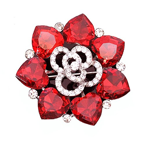 Maikun Clear Rhinestone Opal Cute Butterfly Flower Brooch White Gift for Valentine's Mother's Day Butterfly Ruby Brooch