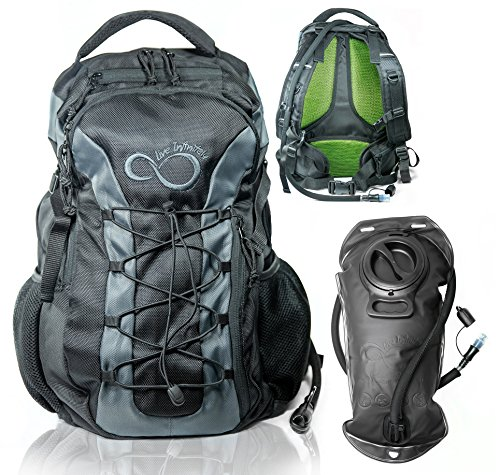 Live Infinitely Hydration Backpack 3.0L TPU Leak Proof Water Bladder- 720D Polyester -Adjustable Padded Shoulder, Chest & Waist Straps- Silicon Bite Tip & Shut Off Valve- (Large 3L Grey Edge)