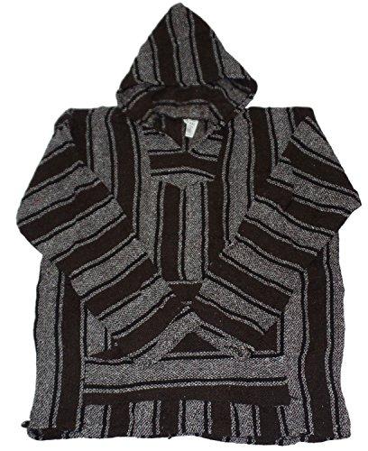 Unisex Jerga/ Baja/ Mexican Blanket Woven Hoodie Hooded Poncho Jacket