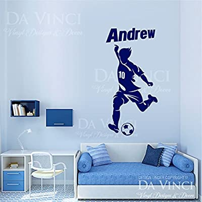 Soccer Player Decal Custom Name Wall Room Personalized Vinyl Sticker Decor B