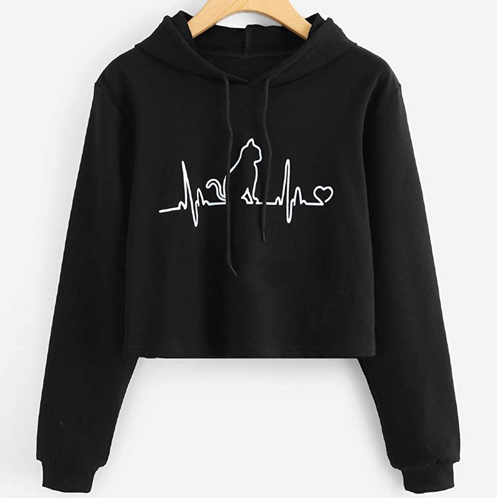 Amazon.com: Clearance Women Cat Printed Hoodie, Drawstring Solid Color Long Sleeve Hooded Pullover Sweater Tops 2018 New: Clothing