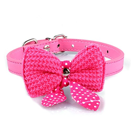 haoricu Pet Collars, Knit Bowknot Adjustable PU Leather Dog Puppy Necklace (XS:Hot Pink)