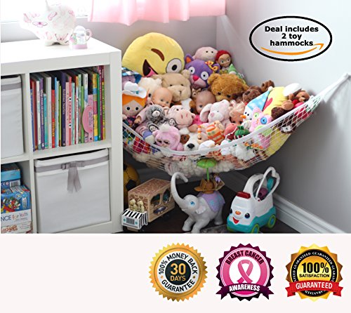 MiniOwls TOY STORAGE HAMMOCK XL - 2 pack - Organizer in White, De-cluttering Solution & Inexpensive Idea for Every Room at Home - 3% is Donated to Breast Cancer Foundation (2 sets white xl) (Toy Polyester Plush)
