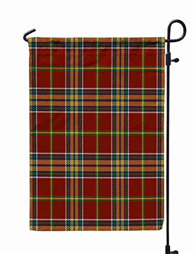 Shorping Welcome Garden Flag, 12x18Inch Tartan Pattern Background Red Green Blue Gold White Color Plaid Flannel Shirt Patterns Trendy Tiles for Holiday and Seasonal Double-Sided Printing Yards Flags -