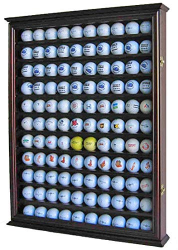 - 110 Golf Ball Display Case Wall Cabinet Holder Shadow Box, Solid Wood (Cherry Finish)