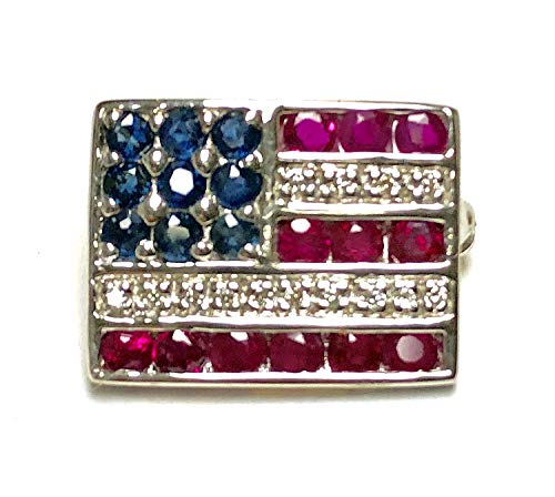Precious American Flag Lapel or Tie Pin in 14K Solid White Gold with Genuine Ruby, Sapphire and Diamond