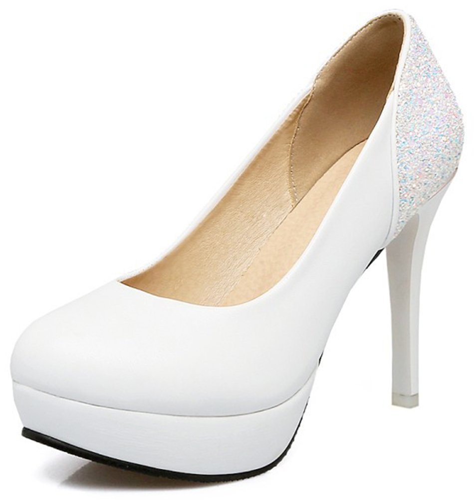 IDIFU Women's Classic Low Top Slip On Low Cut Stiletto High Heel Round Toe Pumps Shoes with Platform (White, 12 B(M) US)