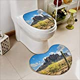 vanfan 2 Piece Toilet Cover set Famous Cany Cliff with Dramatic Cloudy Sky Southwest Terrain Place Nature Non-slip Soft Absorbent Heart shaped foot pad