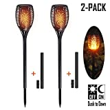 Solar Torch Lights, ZENC Outdoor LED Tiki Lamp Flickering with Realistic Dancing Flame, Dusk-Dawn Landscape Decoration Lights for Garden/Patio/Deck/Driveway 2-PACK, Battery Replaceable