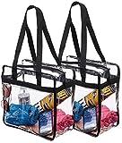 "Set 2 NFL & PGA Compliant Clear Stadium Security Zippered Shoulder Bag Travel Gym Tote Sturdy PVC Construction with External Pocket 12"" X 12"" X 6""G Color Fabric Trim & Long Handles (2)"