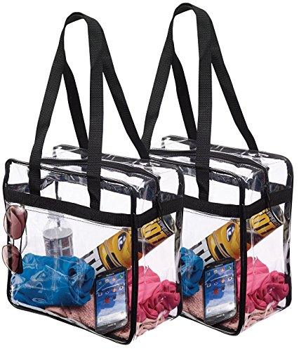 "e3f4940b2164 Set 2 NFL   PGA Compliant Clear Stadium Security Zippered Shoulder Bag  Travel Gym Tote Sturdy PVC Construction with External Pocket 12"" X 12"" X  6""G Color ..."