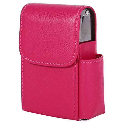 Fdit PU Leather Cigarette Box Case with Pouch Lighter Holder Cigarette Case Wallet Design for Men and Women Unisex(Rose Red) ()