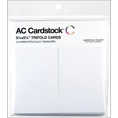 American Crafts 5-1/4-Inch by 5-1/4 Inch 12-Pack Trifold Cards, White