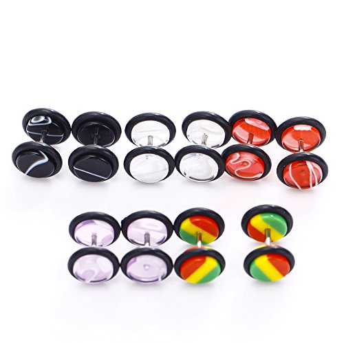 BODYA 10pcs Lot Mixed Marble Acrylic Fake Gauges Kit Fake Plugs 00 Gauge Look Assorted No (10 Gauge Clear Caps)