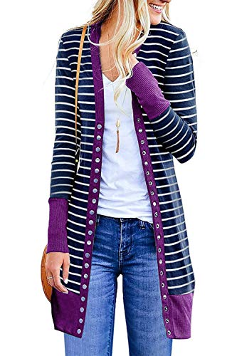 Marysay Women's Striped Long Sleeve Button Down Knit Ribbed Neckline Cardigans Purple Medium