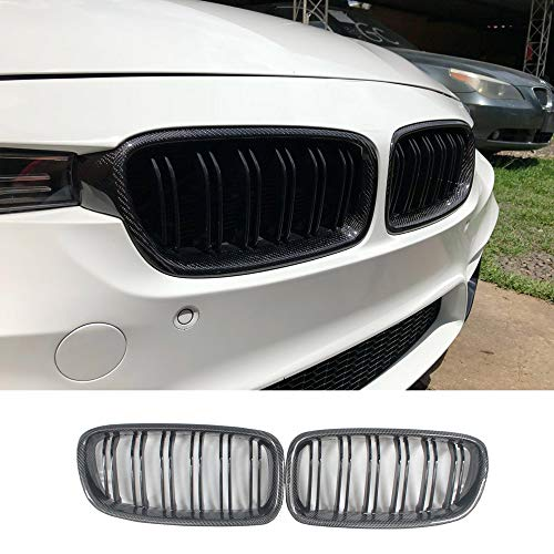 Carbon Fiber Gloss Black Front Replacement Kidney Grill for 3 Series F30 F31 2012-2018